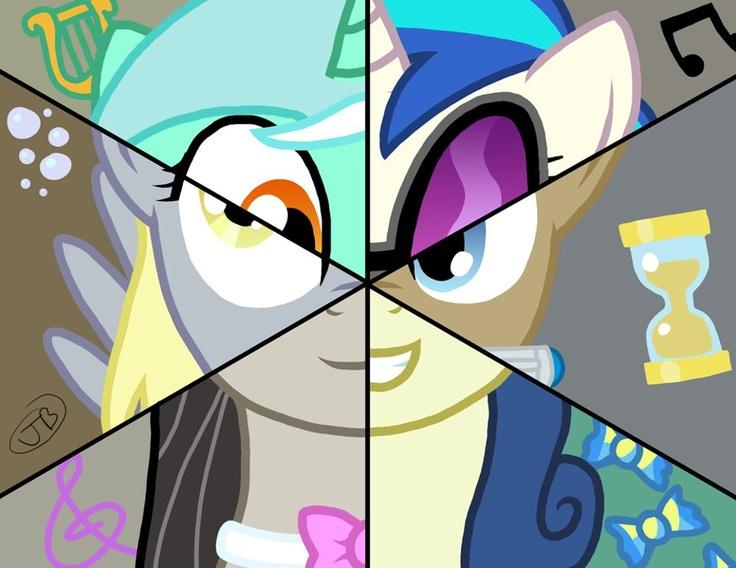 The background ponies: Lyra Heartstrings, DJ Pon-3 (Vinyl), Dr. Whooves, Bon-Bon, Octavia, and Derpy