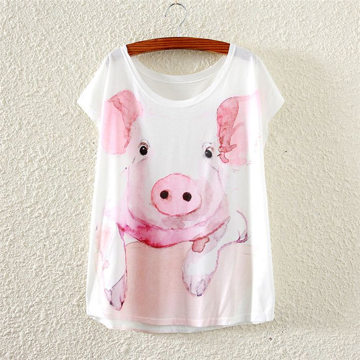 Small pink pig loose women's printed short-sleeved T-shirt women tees tops 2016 summer style female Casual t shirt lady clothes //Price: $8.95 & FREE Shipping //     #hashtag2