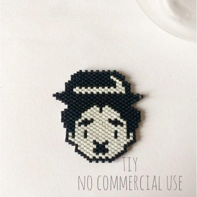 Broche Charlie Chaplin en perles Miyuki #bijouxtiy