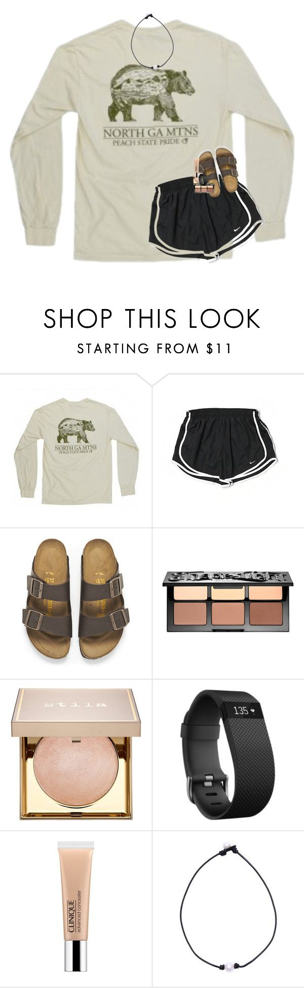 """""""it's snowinggg"""" by lindsaygreys ❤ liked on Polyvore featuring NIKE, Birkenstock, Sephora Collection, Stila, Fitbit and Clinique"""