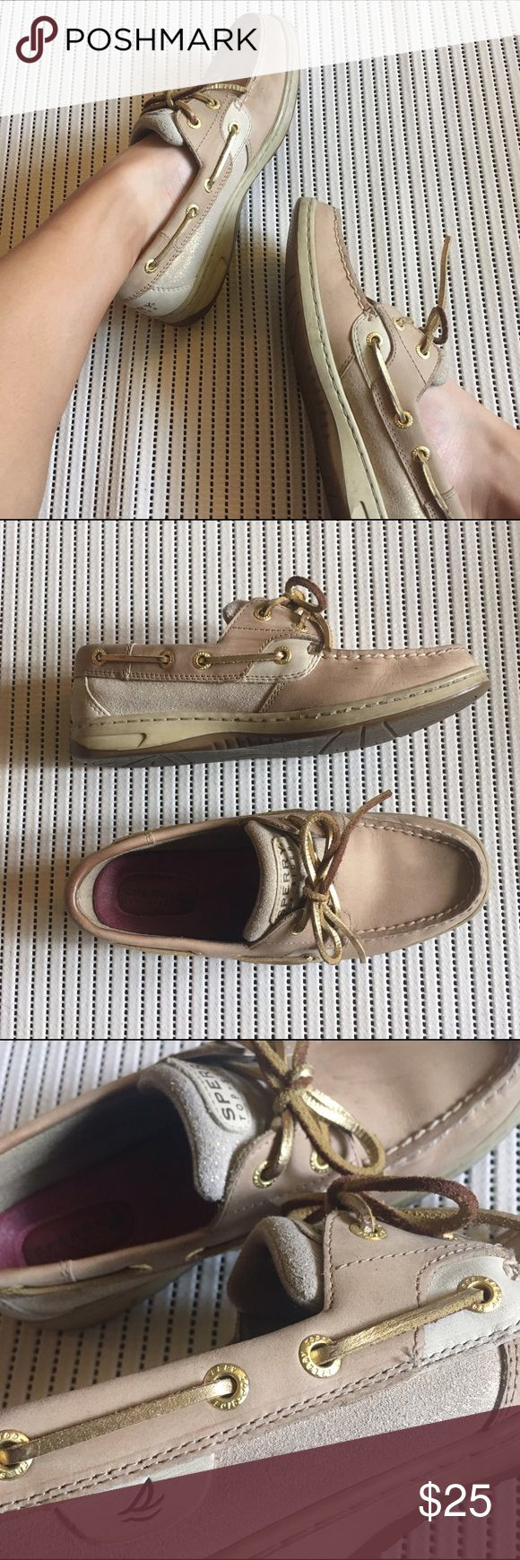 Gold Accent Sperry Boat Shoes Lightly worn Sperry boat shoes, in good condition. Tongue and sides have light gold accenting. Very simple design, but still very cute. Sperry Top-Sider Shoes Flats & Loafers