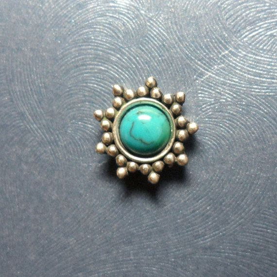 Large Sterling Silver Turquoise Sun Microdermal by Starseedcharms, $18.00