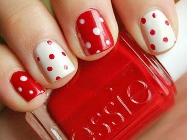 Feel like a little girl again with this sweet red and white polka dot nail design. Get your essie nail polish in a variety of colors at Duane Reade.