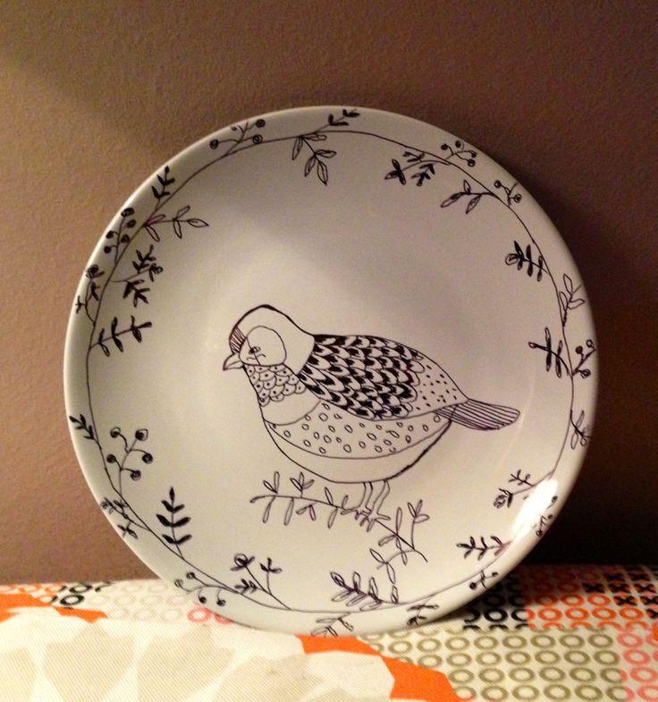 Illustrated bird sharpie plate
