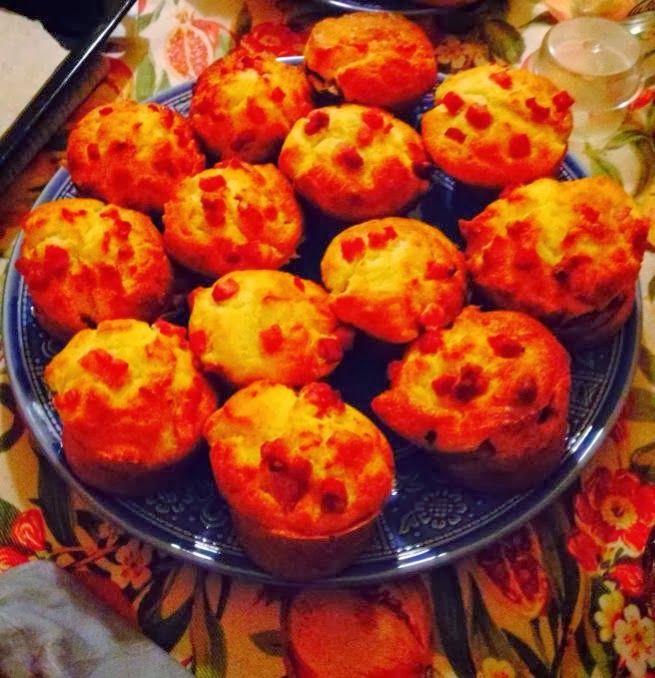 Muffin con pancetta e piselli