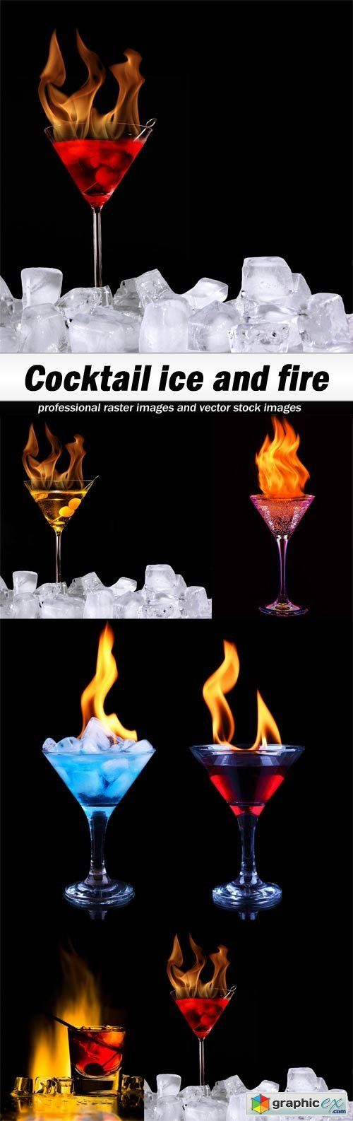 Cocktail ice and fire  stock images