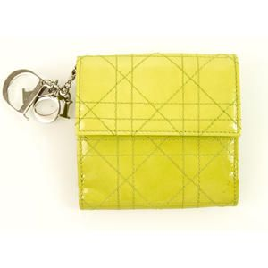 Auth Christian Dior Cannage Lime Green Patent Leather Quilted Wallet with Charms