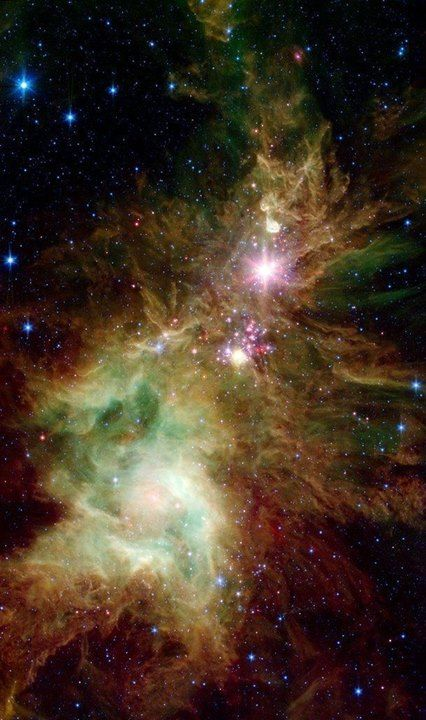 The Christmas Tree Cluster an open star cluster in Monoceros Image Credit: SIRTF/NASA/ESA - http://ift.tt/1HQJd81