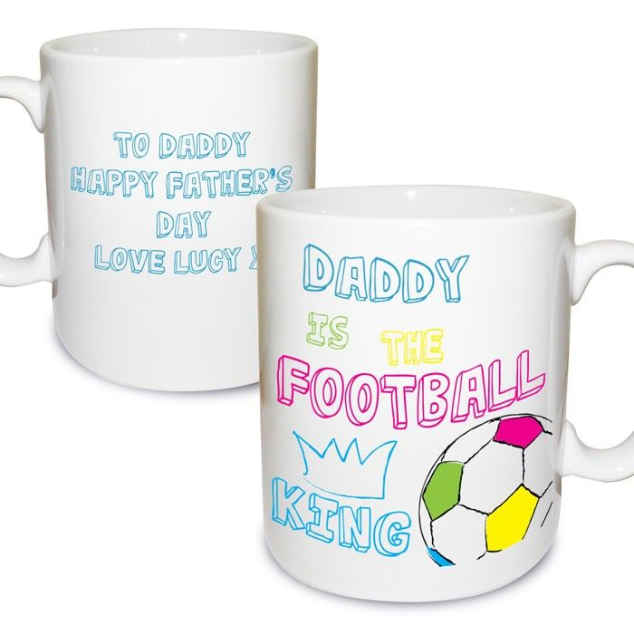 Personalised Football King Mug P0306E60, This multicoloured mug features an image of a bright football and a blue crown.