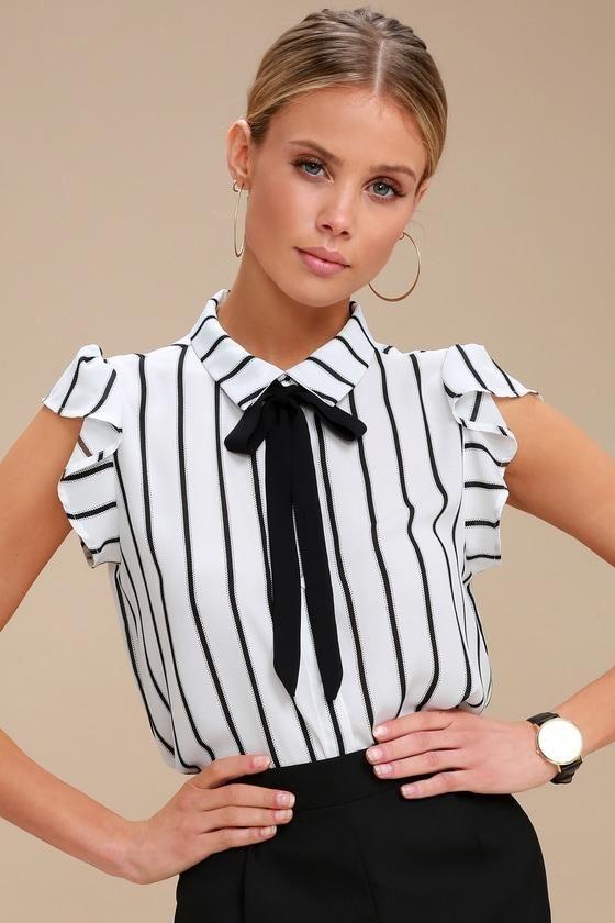 ee93aba2d626 #AdoreWe #Lulus - #Lulus Burke Black and White Striped Tie-Neck Top - Lulus  - AdoreWe.com