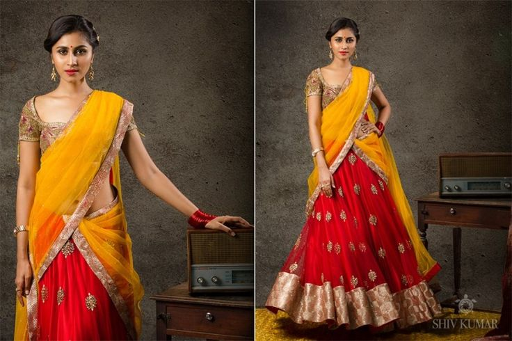 south indian half saree - Google Search