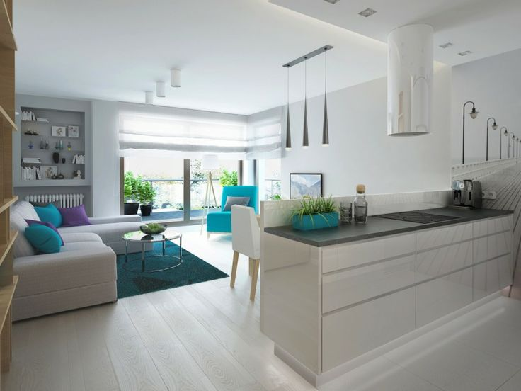 Salon z aneksem kuchennym w szarościach | HOME&STYLE