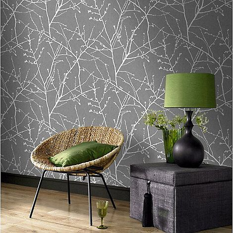 Superfresco Easy Charcoal & Silver Innocence Twig Wallpaper | Debenhams