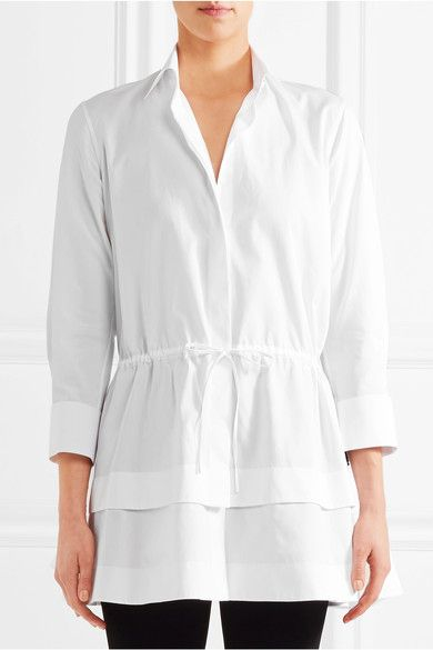 White cotton-poplin  Concealed button fastenings through front 100% cotton Dry clean Shell: Australia Made in Italy