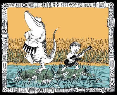 carte de voeux personnalisée pour un garçon de 3 ans qui aime le rock et les crocodiles. Custom card. Illustration d'Hélène Malric