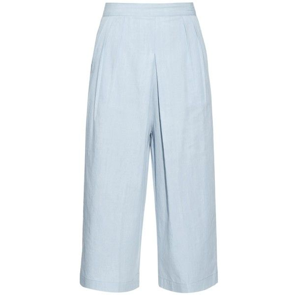 3x1 Denim culottes (9,510 THB) ❤ liked on Polyvore featuring shorts, pants, bottoms, light blue, summer shorts, highwaist shorts, light blue shorts, high rise shorts and crop shorts