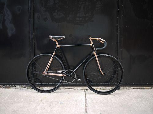 A black-gold hipster bike