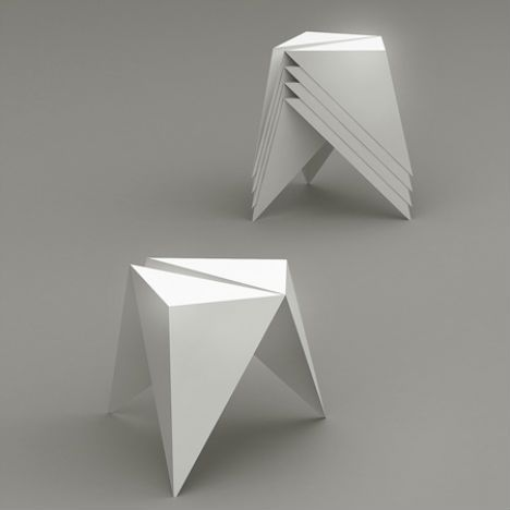 ".ORI Stool by Jakub Piotr Kalinowski  Playing around with origami, designer Jakub Piotr Kalinowski came up with a cool stool design that leaves no doubt as to its biggest influence. ""Use of a bending and cutting method allowed to satisfy main design assumption: simplicity and lost manufacturing costs, by dint of that the mass production is possible."""