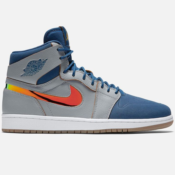 Air Jordan Retro 1 High Wolf Grey French Blues sneaker Mens high top shoe  Lace up closure Premium leather upper with synthetic stretch toe box Perf  for ...