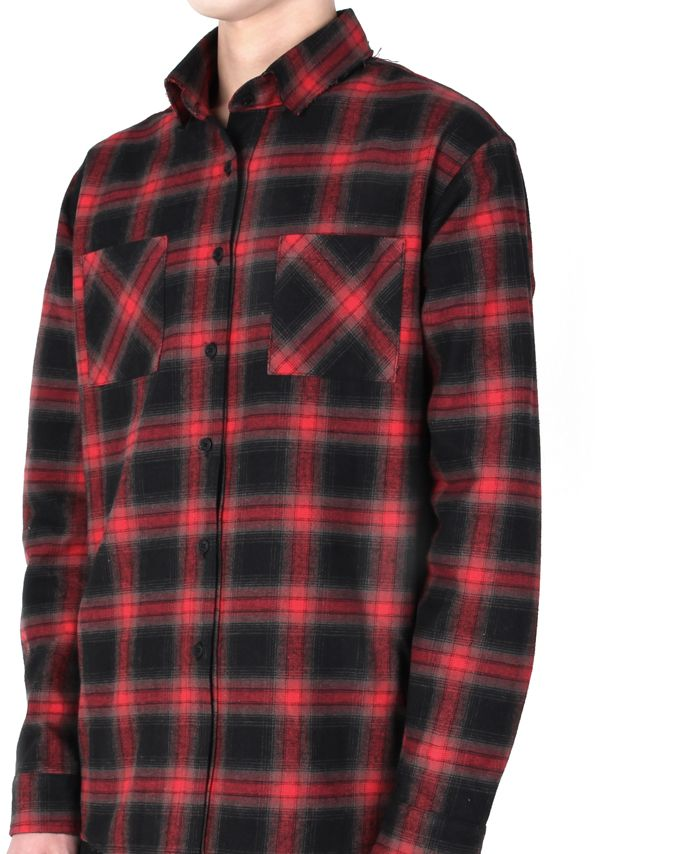 """monument_P Red Checked shirts 95,000KRW Destroyed checked shirts with graphic by Cogito. 1st collection """"Do It Yourself""""."""