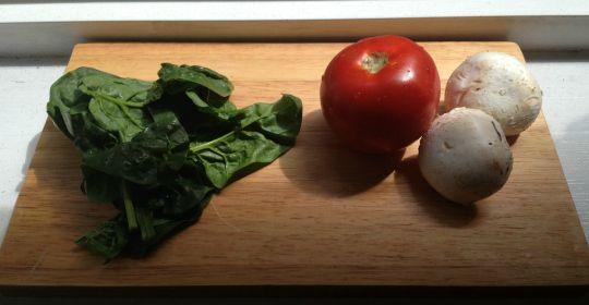 Scrambled Egg Bites: spinach, tomato, mushroom, feta, yum!