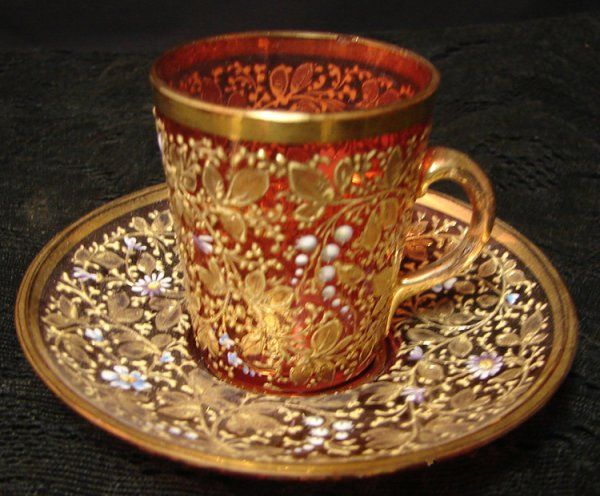 MOSER CUP AND SAUCER - Looks like cranberry glass underneath, doesn't it?