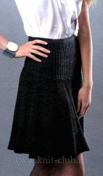 Вязание юбки с кокеткой спицами со схемами