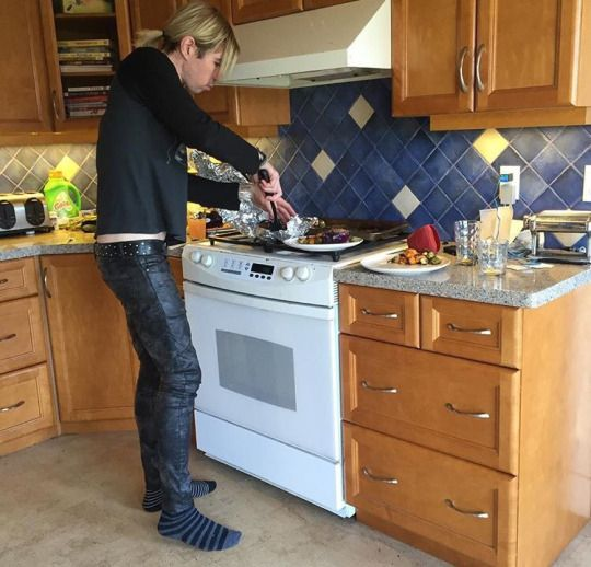 Josh Ramsay cooking in socks. Why is this adorable??