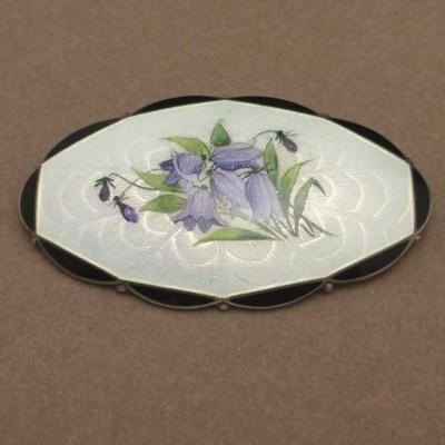 Bluebells Flowers Pin Vintage Enamel Sterling Silver O.F. Hjortdahl Norway