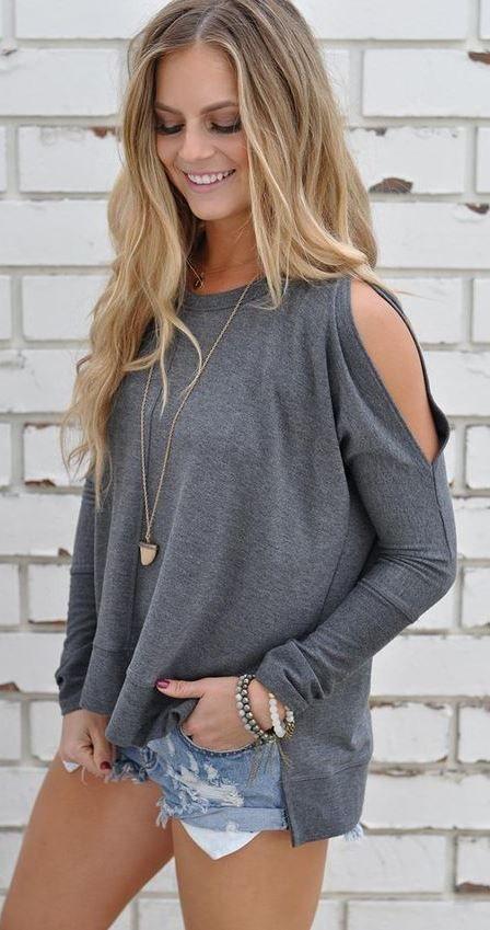 faf5001ff13ca grey top + denim shorts