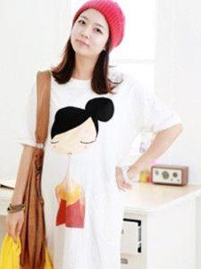 Easeful White 100% Cotton Figure Maternity Tee Shirt