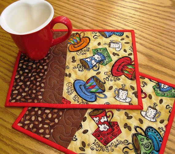 coffee mug rugs ~ I'm liking the idea of a coffee mug print fabric and then the brown accents!