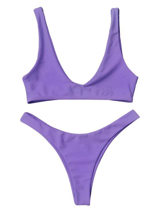 Traje de Bikini con Escote en U con Tiro Alto - Púrpura M CODIGO ZFCB01