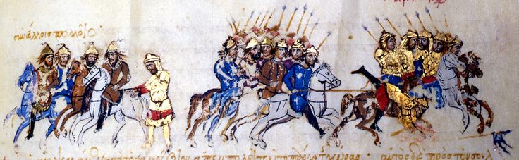 Illustration from  Scylitzes Chronicle  f234v  A battle between Byzantines and Seljuks.  A battle between the cavalry of the Byzantines and the Seljuks.  Scylitzes Chronicle