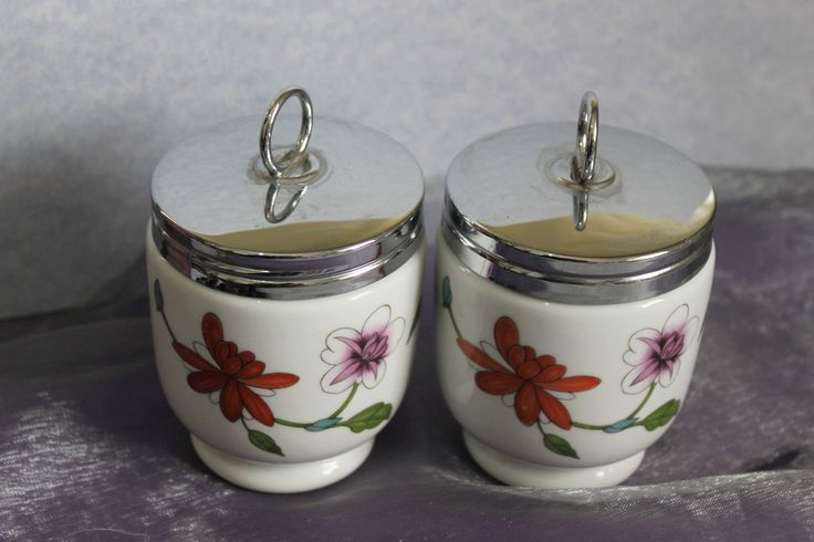Pair of King Sized Porcelain Egg Coddler 'Astley' Floral Design by Royal Worcester of England. Traditional Home Cooking. . by AtticBazaar on Etsy
