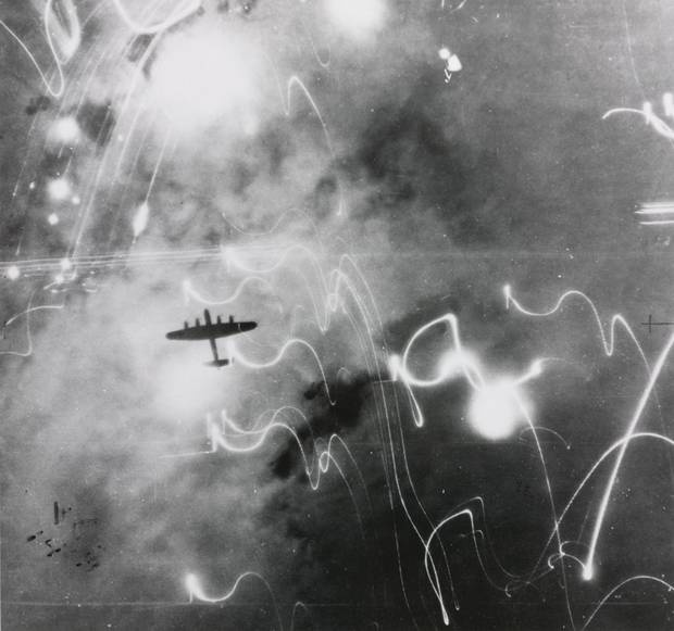 Lancaster bomber seen from above during a Second World War bombing raid over Germany