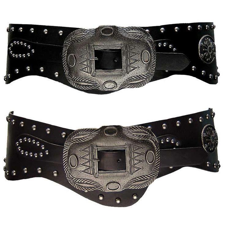 Curve belt with anti-silver studs & feature button (Length: 92cm)