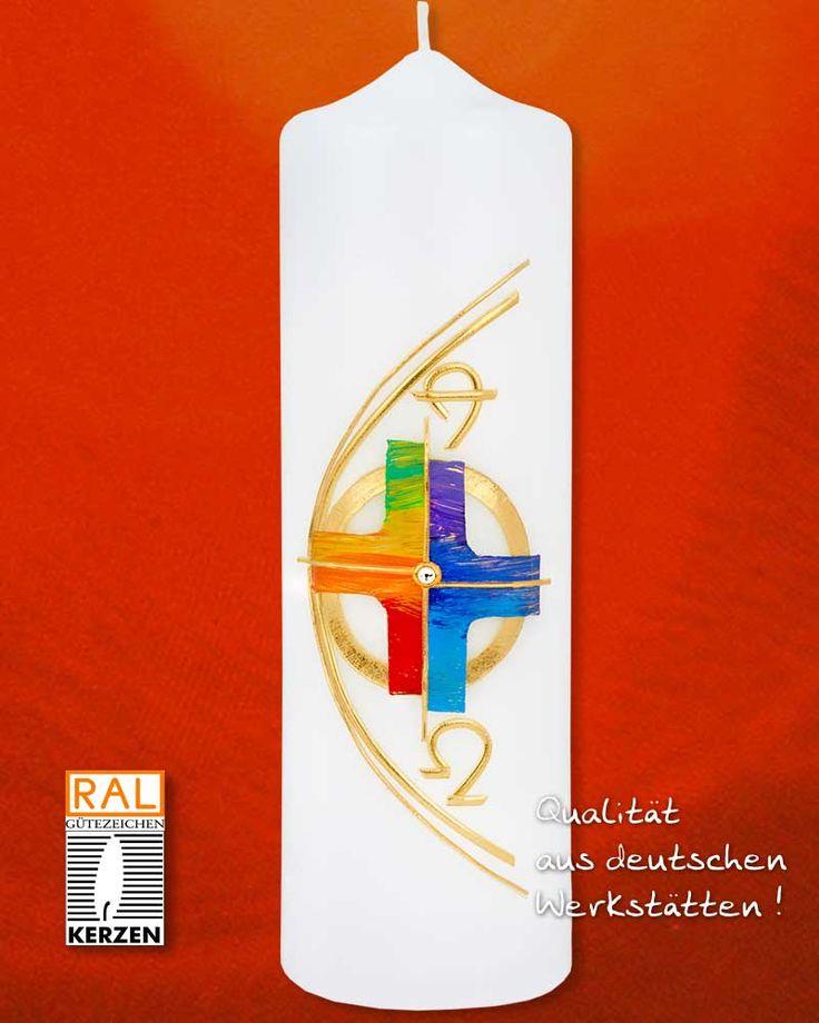 Osterkerze 225 x 70 mm Regenbogenkreuz A + O