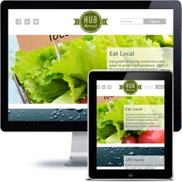 Hub Harvest Company website built with PHP/HTML, JQuery using responsive web design.