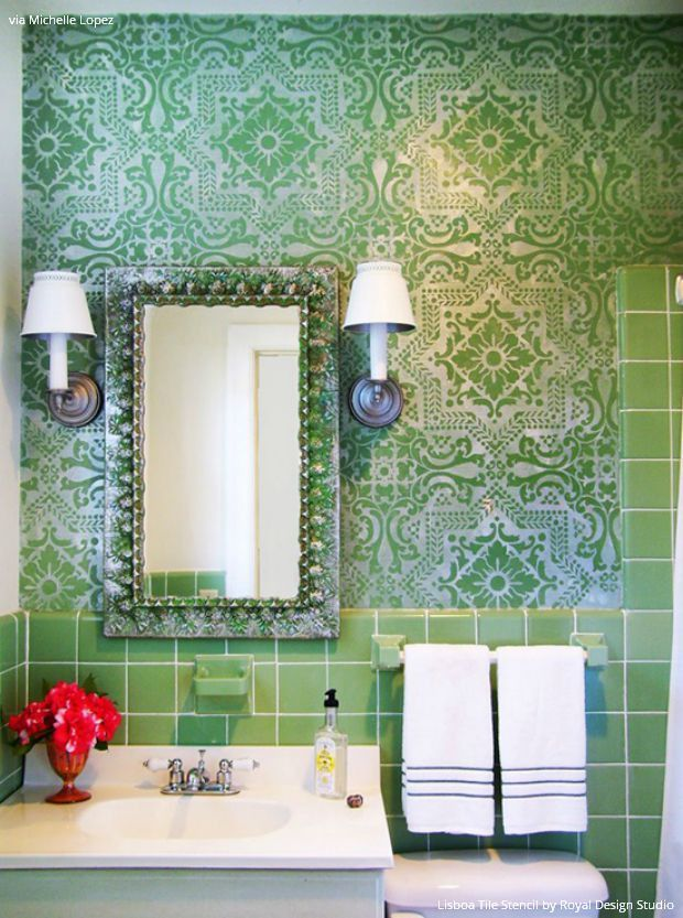 120 best bed + bath stenciling images on pinterest