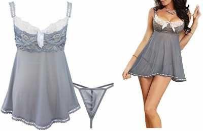 Efiel Lencería Dos Piezas Para Mujer  Pijama Tiras Ajustables de Malla Transparente Gris  Caracteristicas Del Producto: Sexy Lencería transparente para