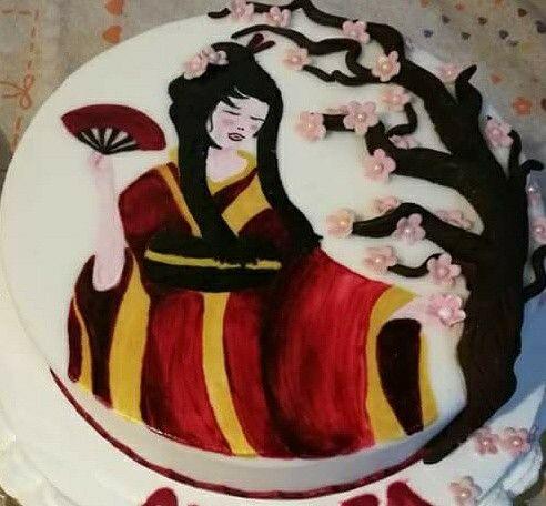 """Torta geisha dipinta a mano""""le torte di Maví """""""