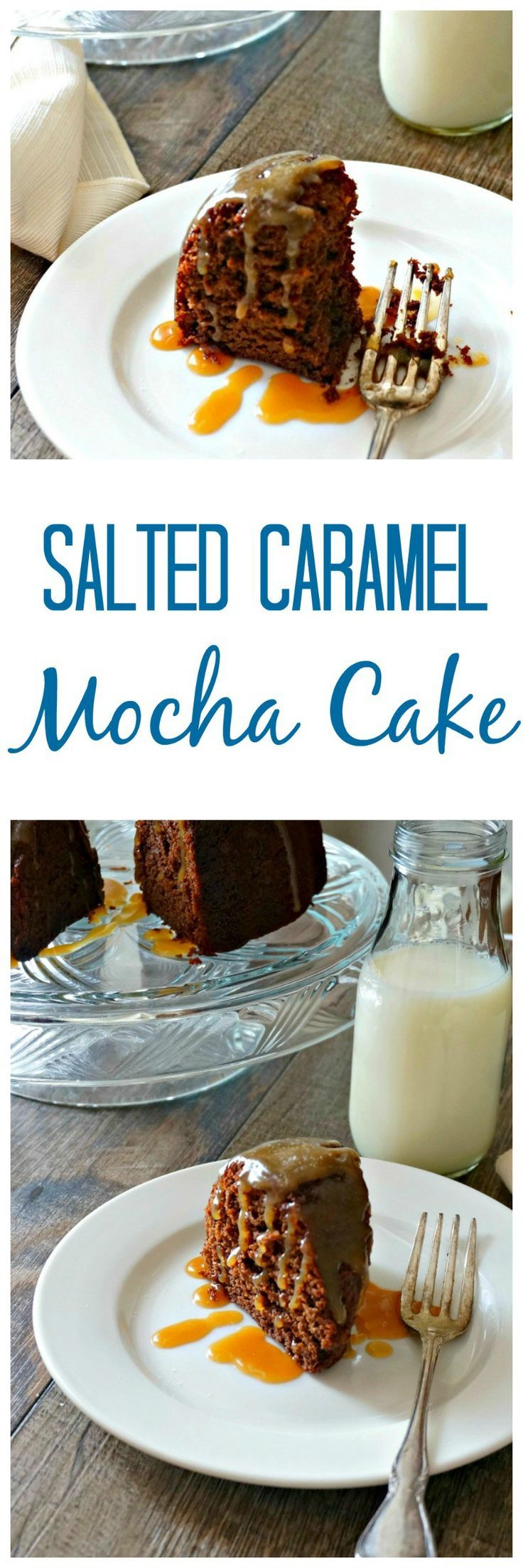 Salted Caramel Mocha Bundt Cake: A moist chocolate cake with hints of mocha is topped with a homemade salted caramel sauce for an insanely good cake--made from scratch.