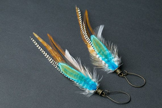 Boho feather earrings: real natural feather, native american, bohemian jewelry, boho chic, gift for her, gift for wife, gift for girl