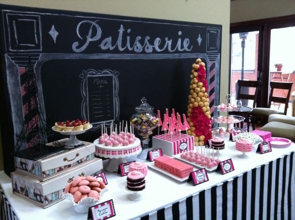 Paris theme candy table | party theme: paris • ideas • decor • love