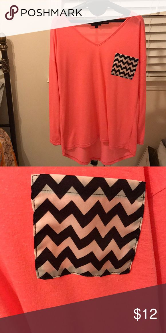 Great Condition Women's Shirt Great Condition, only worn once. Hot pink color with black and white chevron pocket. Super soft. Tops Tees - Long Sleeve