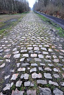 Paris Roubaix. The Arenberg trench section of cobble, road bike over that! Need a mountain bike lol