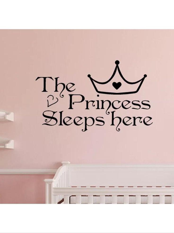 The Princess Sleeps Here Wall Decal Sticker Room Door Girls Bedroom Nursery Baby | eBay