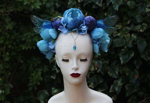Stunning Periwinkle Blue Flower and Fairy Wing Woodland Fairy Headdress - Flower Crown - Romantic Flower Fairy Cosplay