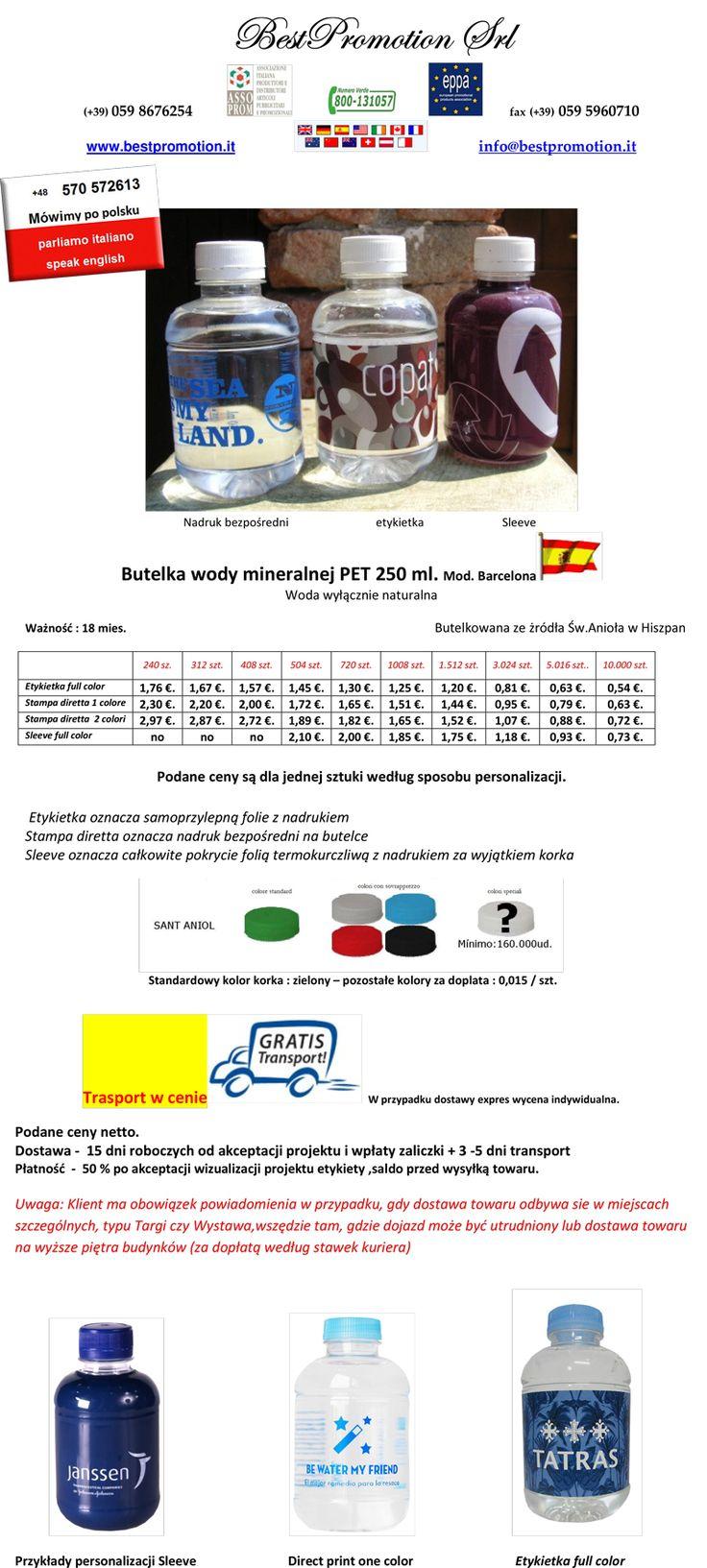 Butelka wody mineralnej PET 250 ml. | Woda Reklamowa